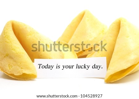 chinese fortune cookie whit label isolated on a white background