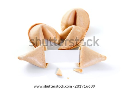 Chinese fortune cookie with blank paper strip isolated on white background - stock photo