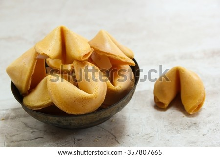Chinese fortune cookies, selective focus - stock photo