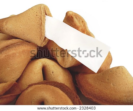 Chinese fortune cookies with blank fortune and more copy space - stock photo