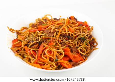 Chinese fried noodles - stock photo