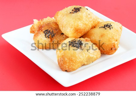 Chinese fried rice cakes - stock photo