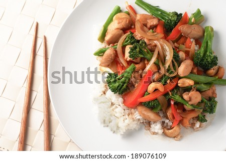 Chinese fried vegetable with chopstick - stock photo