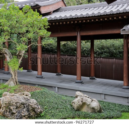Chinese garden corridor - stock photo
