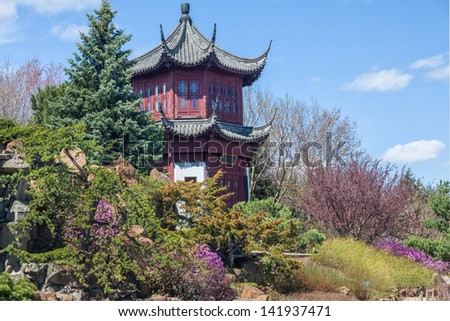 Chinese Garden in the Montreal Botanical Garden, Montreal, Quebec, Canada. - stock photo