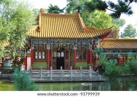 Chinese garden n Zurich - stock photo