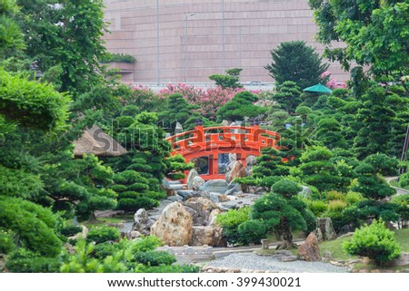 Chinese garden style in Nan Lian Garden, Hong Kong - stock photo