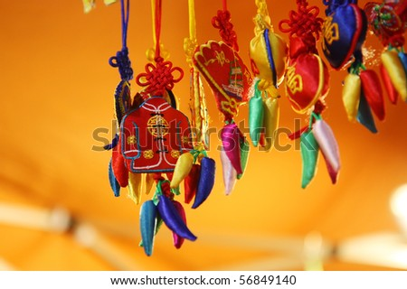 Chinese gifts and crafts at a market - stock photo