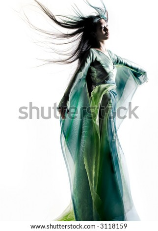 Chinese girl dressed in fantasy robe - stock photo