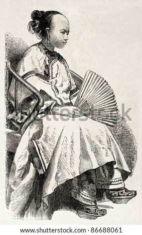 Chinese girl old engraved portrait. Created by Grandsire, published on L'Illustration, Journal Universel, Paris, 1860 - stock photo