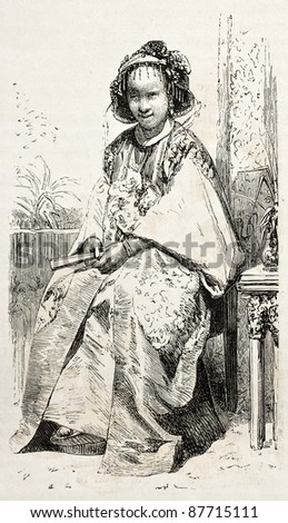 Chinese girl old illustration. Created by Grandsire, published on L'Illustration, Journal Universel, Paris, 1860