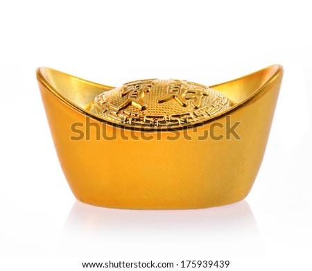 Chinese gold ingot - stock photo
