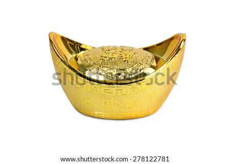 Chinese gold ingot on white background - stock photo