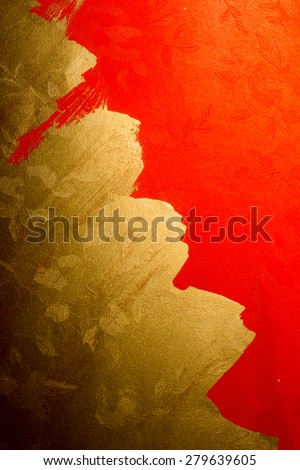 chinese gold ink /red paper - stock photo