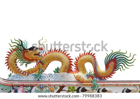 Chinese golden dragon isolated on white