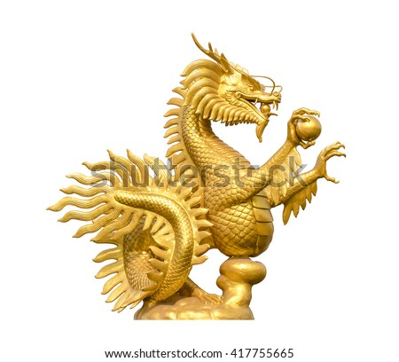 Chinese Golden dragon on the white background - stock photo