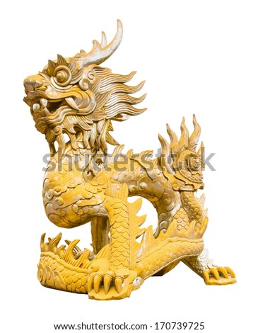 chinese golden dragon statue with isolated white background