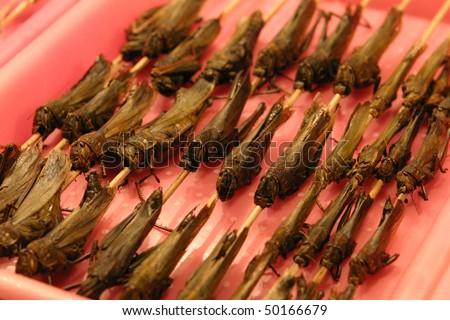 Chinese Grasshopper Kabobs, Beijing - stock photo