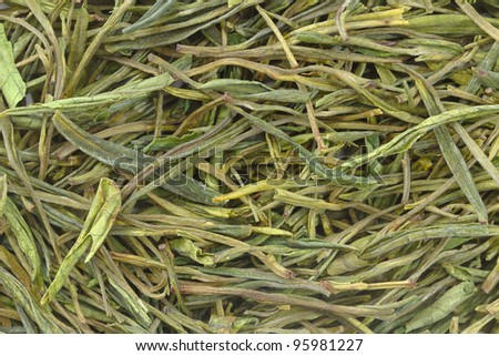 Chinese green tea as background (texture) - stock photo