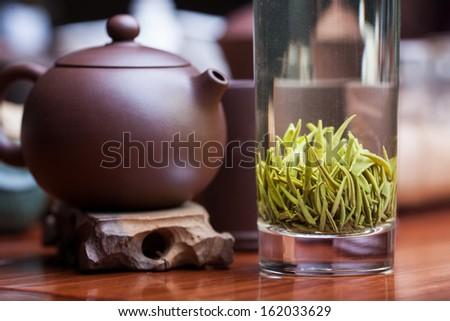 Chinese green tea, Tieguanyin tea - stock photo