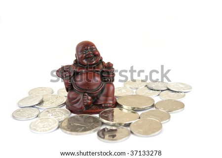 Chinese Happy Man figurine with coins