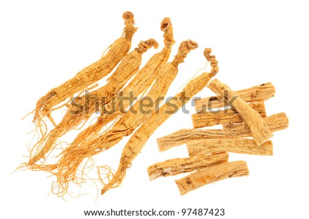 Chinese Herb, Ginseng Isolated On White Background - stock photo