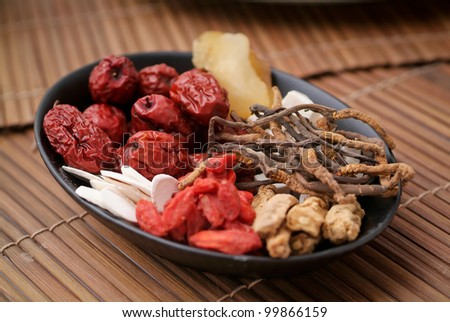 Chinese herbal. Different kind of Chinese herbal - stock photo