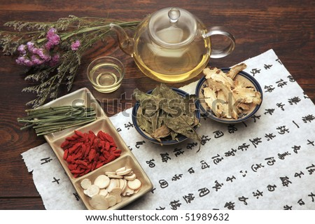 Chinese herbal medicine and tea set - stock photo