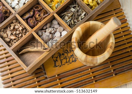 Chinese Herbal Medicine in box on table.