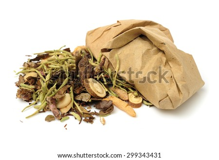 Chinese herbal medicine selection - stock photo