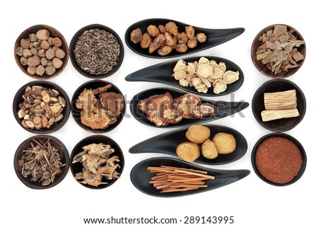 Chinese herbal medicine selection in black bowls  over white background. - stock photo