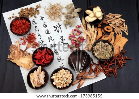 Chinese herbal medicine selection with acupuncture needles and calligraphy script on rice paper. - stock photo