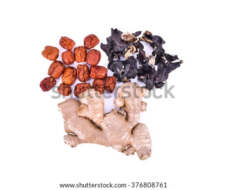 chinese herbal soup dried ingredients. Mature ginger, ear mushroom, chinese jujubes. Isolated on white background. - stock photo