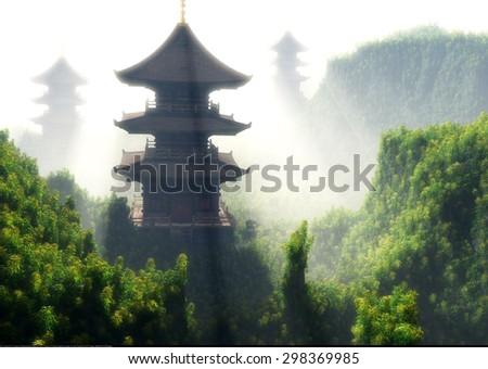 Chinese home against lanshafty. - stock photo
