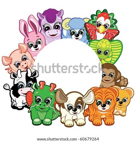 Chinese Horoscope - frame of the animals. - stock photo