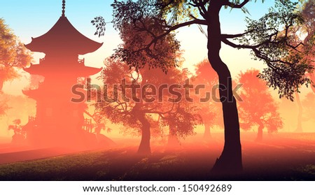 Chinese house in the woods. - stock photo