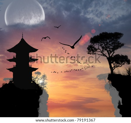 Chinese house on the hill near the sea - stock photo