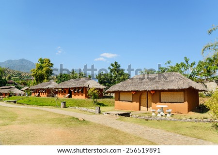 Chinese houses made of clay in hill at Santichon village , Pai city, Mae Hong Son Province, Thailand - stock photo
