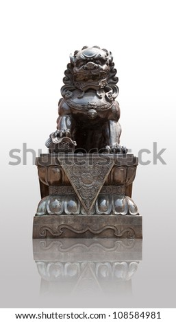 Chinese Imperial Lion Statue with shadows - stock photo