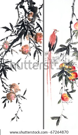 Chinese ink and wash painting. - stock photo