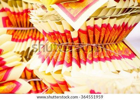 Chinese Joss Paper, traditional for passed away ancestor's spirits with selective focus - stock photo