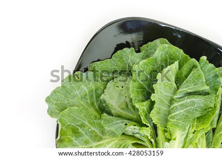 chinese kale on plate top view on white background