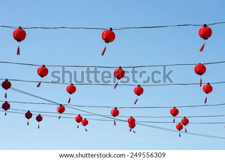 chinese lamp hanging on rope - stock photo