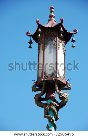 Chinese Lamp Post in San Francisco - stock photo