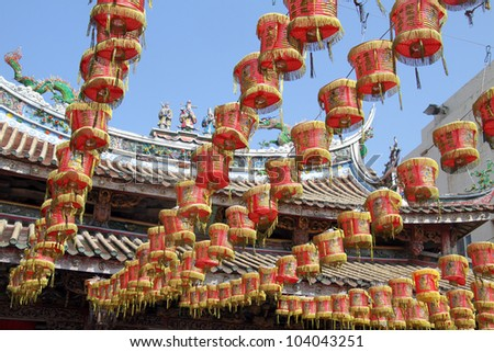 Chinese lamps and temple godness Matsu in Lukang, Taiwan - stock photo