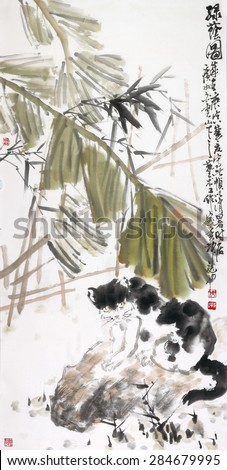 Chinese landscape painting - stock photo