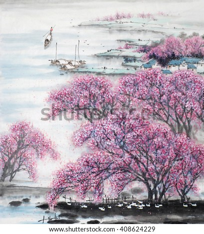 Chinese landscape.Traditional chinese ink painting. - stock photo