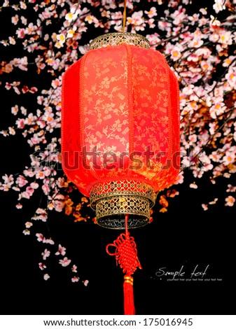 Chinese lanterns, Chinese New Year, hanging on the tree. - stock photo