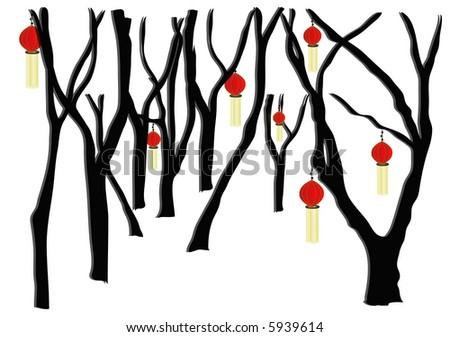 Chinese Lanterns hanging in trees - stock photo