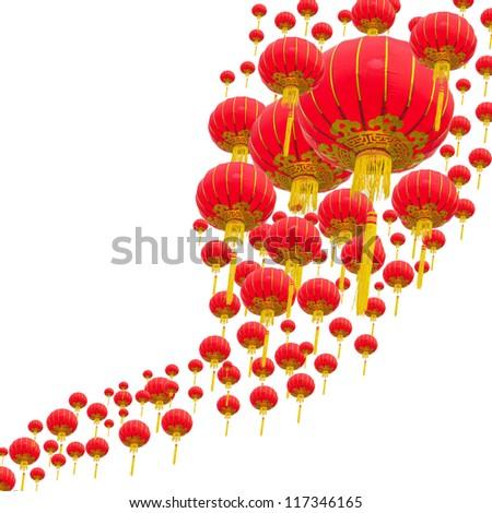 Chinese lanterns withe white background - stock photo